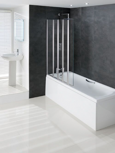 Eastbrook Volente 1250mm 1 Fixed & 4 Folding Panel Bath Screen LH or RH